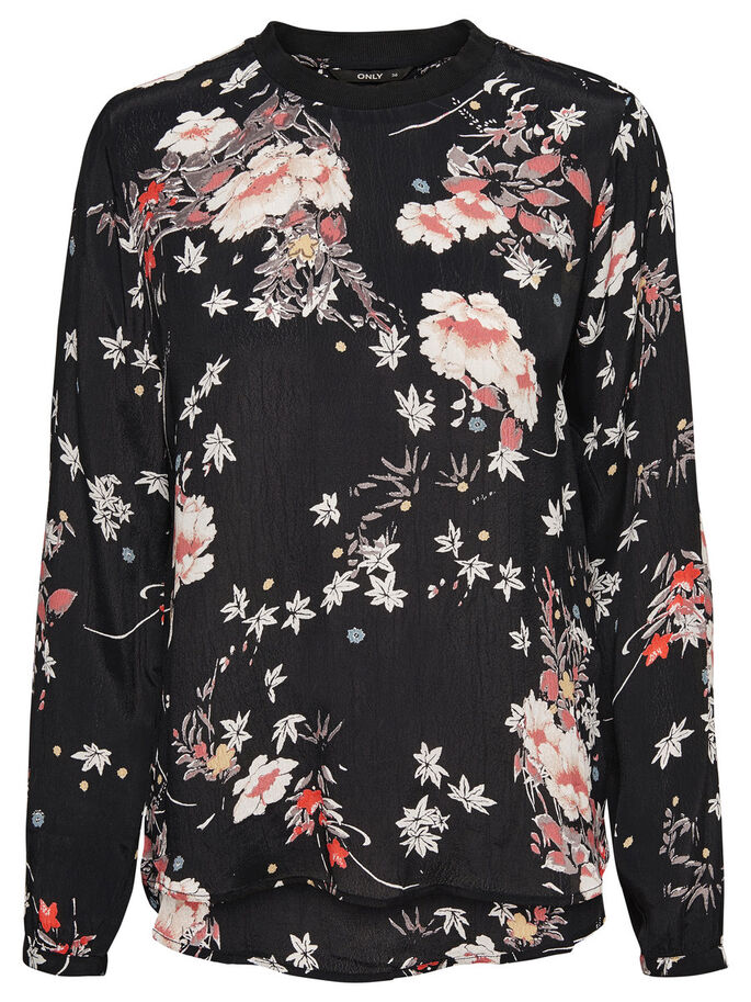 PRINTED LONG SLEEVED TOP, Black, large