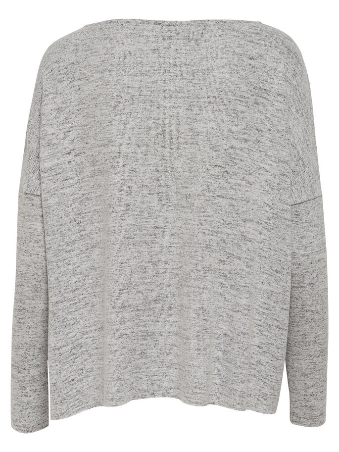 LOOSE FIT STRIKKET PULLOVER, Light Grey Melange, large