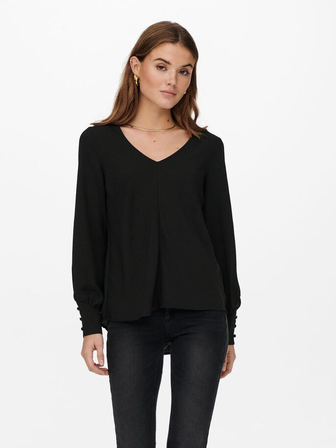SOLID COLORED TOP, Black, large