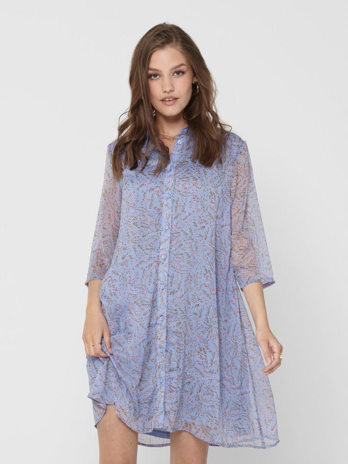 PRINTED SHIRT DRESS, Vista Blue, large
