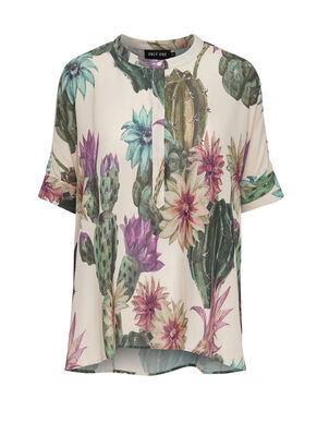 LOOSE FITTED PRINTED SHORT SLEEVED TOP