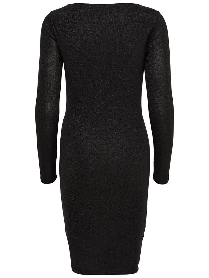 KNOT LONG SLEEVED DRESS, Black, large