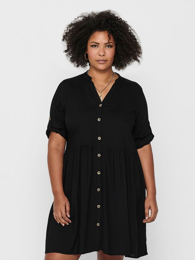 CURVY LOOSE FITTED SHIRT DRESS, Black, large