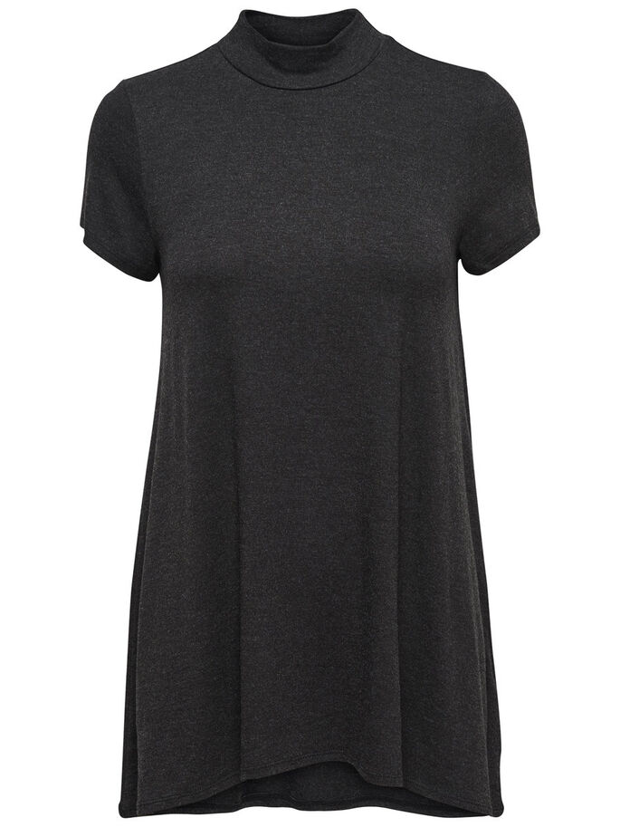 TURTLENECK SHORT SLEEVED DRESS, Black, large
