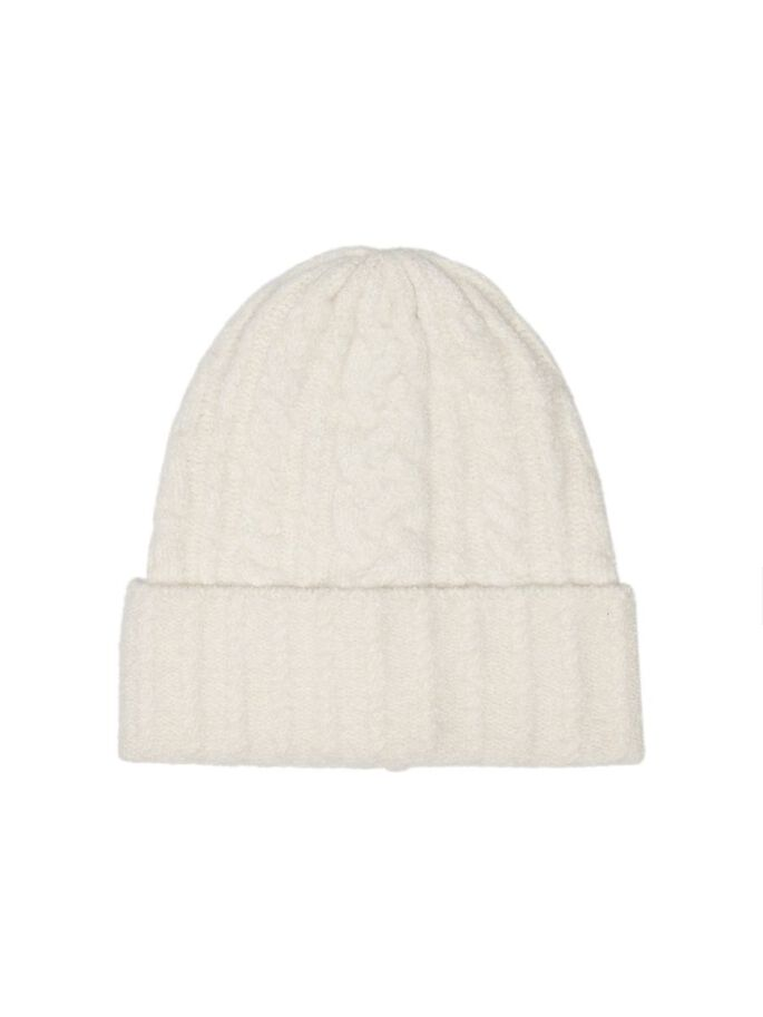 CABLE KNITTED BEANIE, Eggnog, large