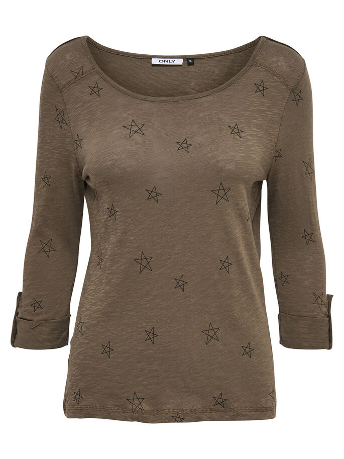 STAR 3/4 SLEEVED TOP, Tarmac, large