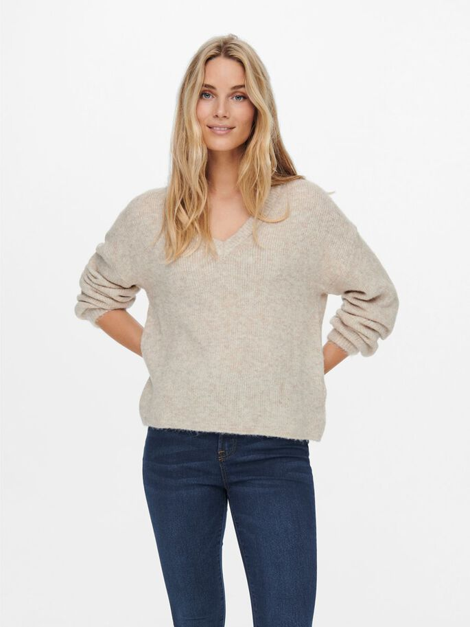 V-NECK PULLOVER, Chateau Gray, large