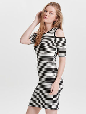 COLD SHOULDER SHORT SLEEVED DRESS