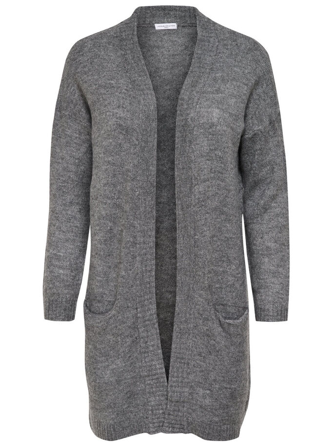 LANGER STRICK-CARDIGAN, Dark Grey Melange, large