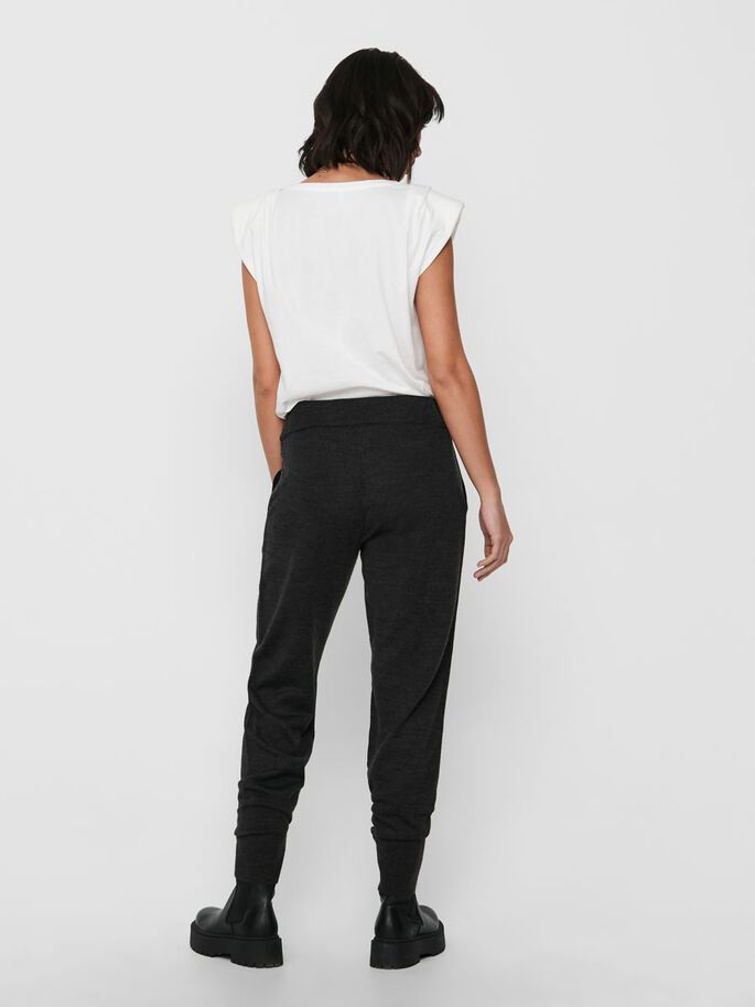 SOLID COLORED TROUSERS, Dark Grey Melange, large