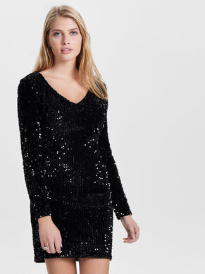 SEQUINS LONG SLEEVED DRESS
