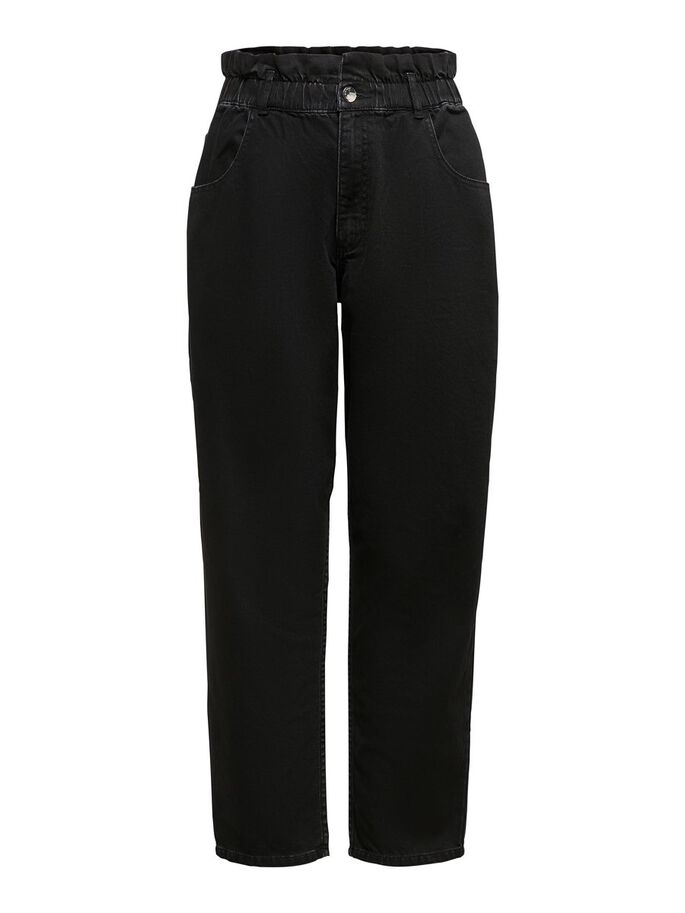 HIGH WAIST CROPPED JEANS, Black, large