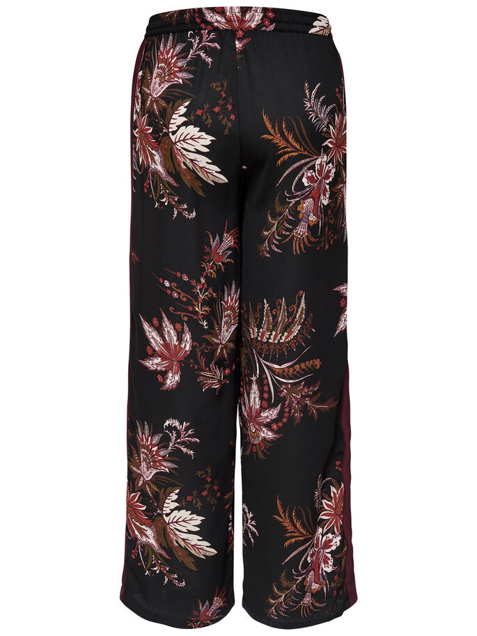 FLOWERED PANTS, Black, large