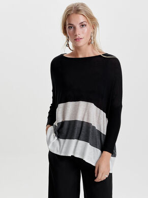 LOOSE CONTRAST KNITTED PULLOVER