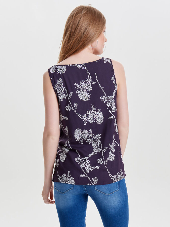PRINTED SLEEVELESS TOP, Nightshade, large