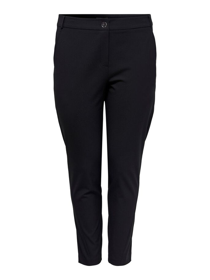 CURVY SOLID COLORED TROUSERS, Black, large