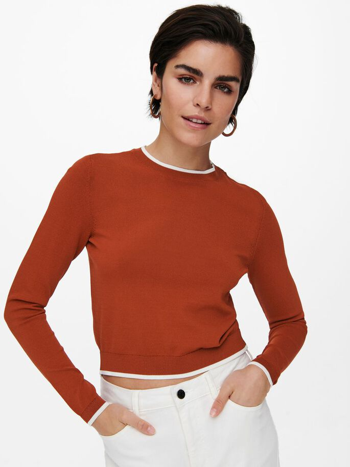 DETAILED KNITTED PULLOVER, Roasted Russet, large