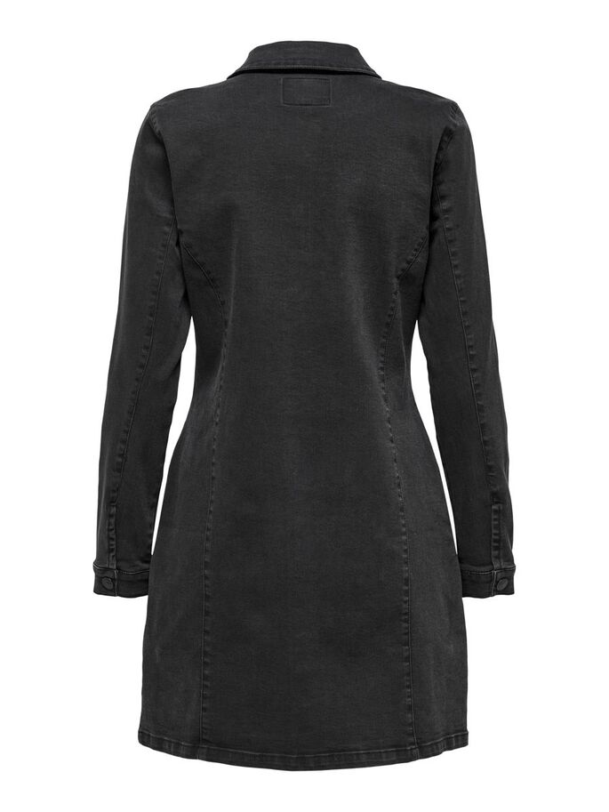SOLID COLORED SHIRT DRESS, Black, large