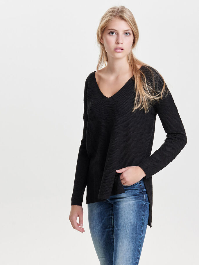 LOOSE FIT STRIKKET PULLOVER, Black, large