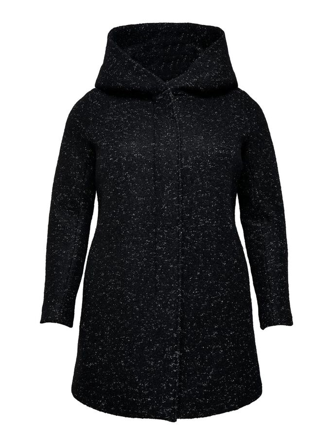 CURVY WOOL COAT, Black, large