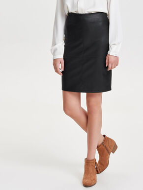 LEATHER LOOK MIDDELLANGE ROK