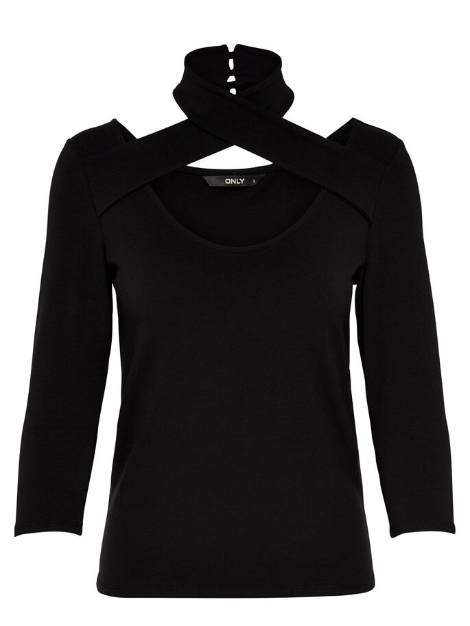 WRAP TOP MED 3/4-ÆRMER, Black, large