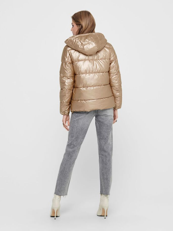 METALLIC LOOK PUFFER JACKET, Frosted Almond, large