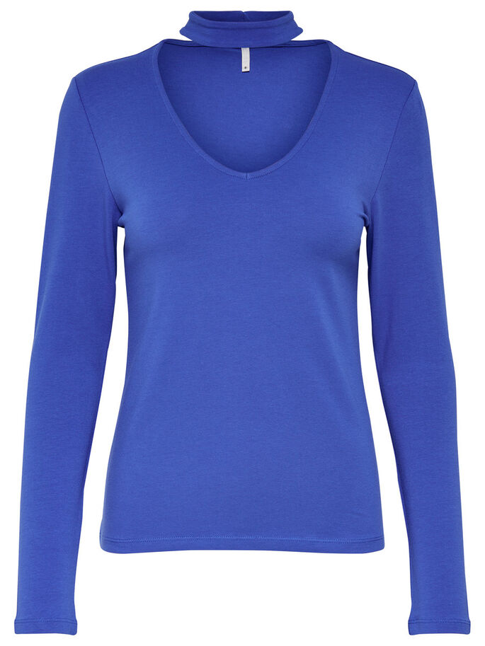 CHOKER LONG SLEEVED TOP, Dazzling Blue, large