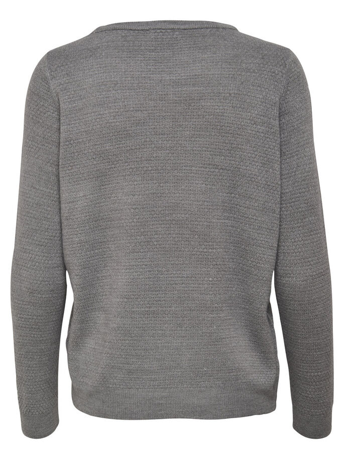 EFFEN GEBREIDE TRUI, Light Grey Melange, large