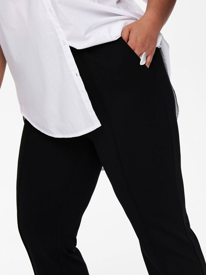 CURVY WIDE FITTED TROUSERS, Black, large