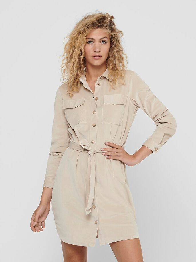 CORDUROY SHIRT DRESS, Cement, large