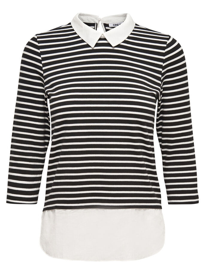 STRIPED 3/4 SLEEVED TOP, Black, large
