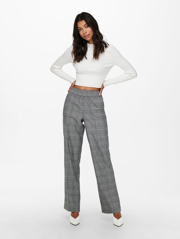 CHECK WIDE TROUSERS, Cloud Dancer, large