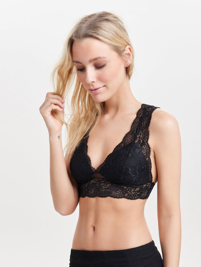 LACE BRA, Black, large