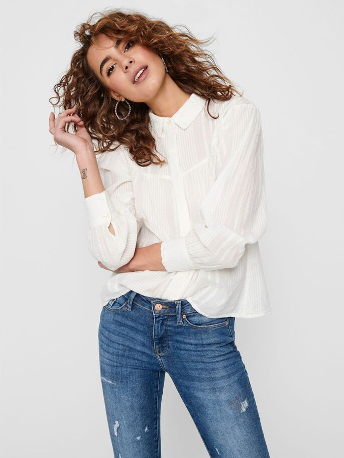 LOOSE FITTED SHIRT, Cloud Dancer, large