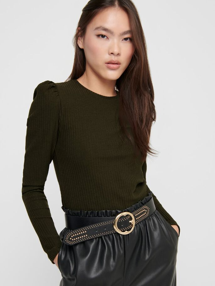 PUFF SLEEVE TOP, Forest Night, large