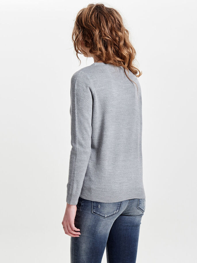 COULEUR UNIE PULL EN MAILLE, Light Grey Melange, large