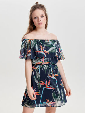 OFF-SHOULDER KORT KJOLE