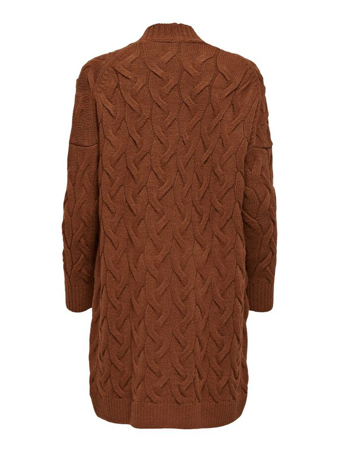 LONG TEXTURE KNITTED CARDIGAN, Tortoise Shell, large