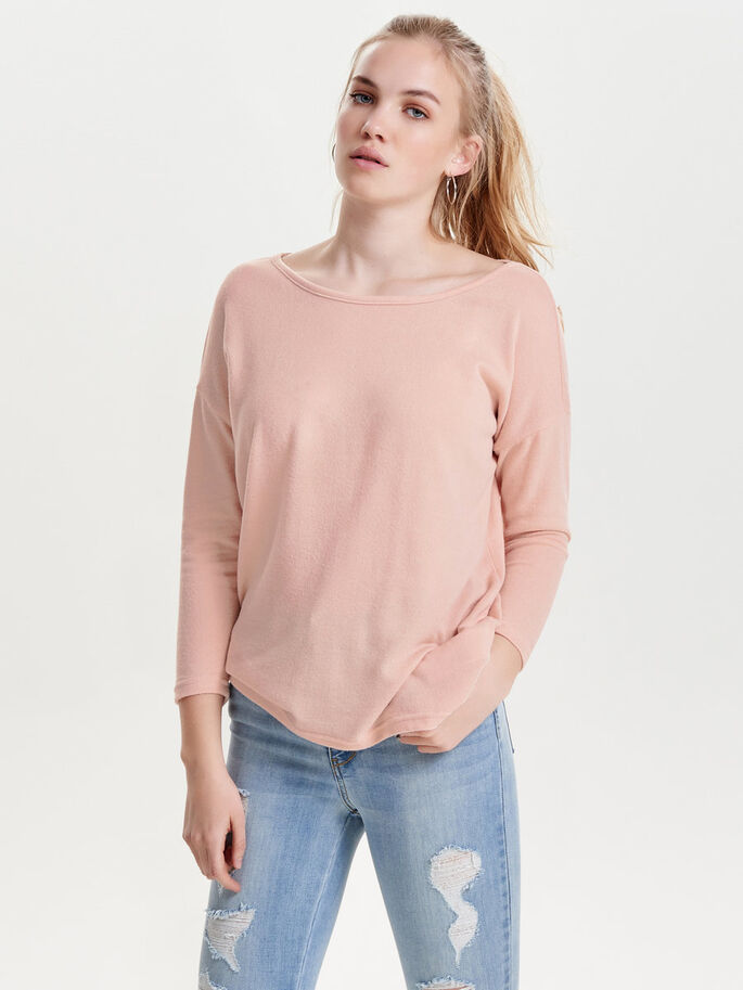 LOOSE 3/4 SLEEVED TOP, Rose Smoke, large