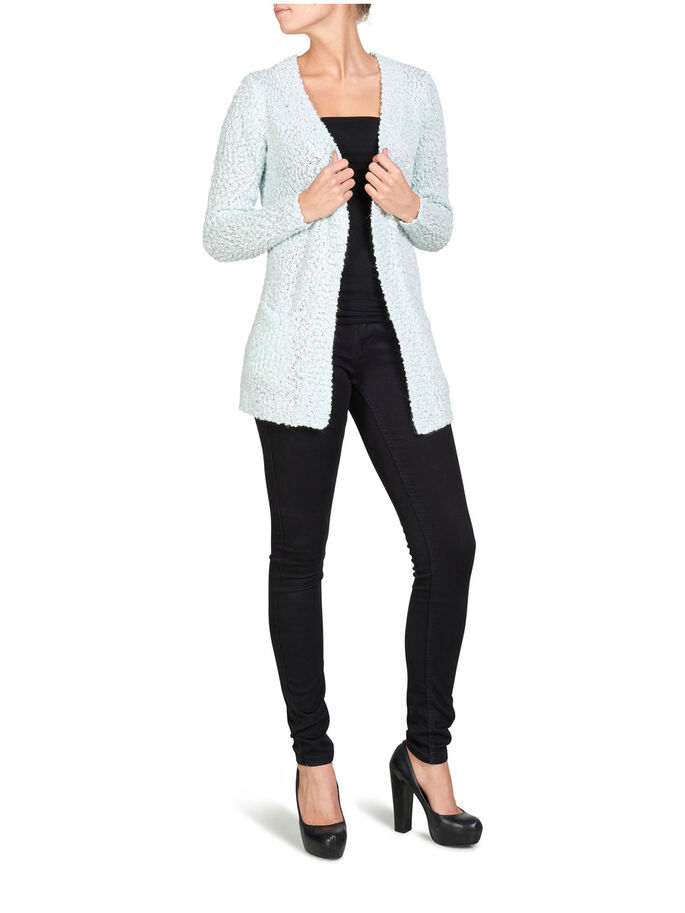 LONG SLEEVED KNITTED CARDIGAN, Wan Blue, large