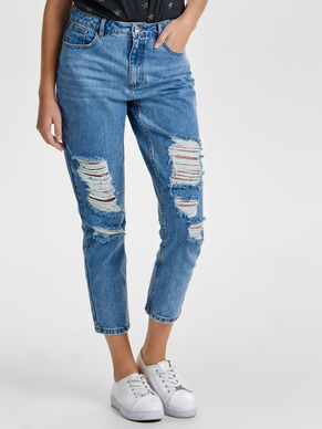 KELLY MOM FIT SLITNA STRAIGHT FIT-JEANS