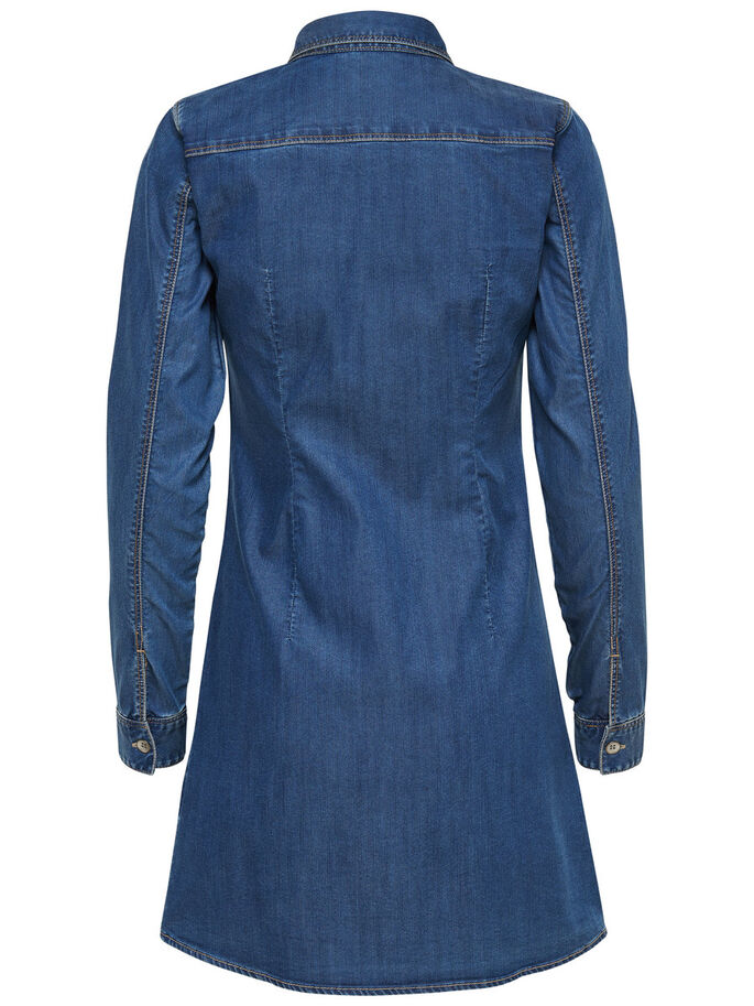 LANGE SPIJKERBLOUSE, Medium Blue Denim, large