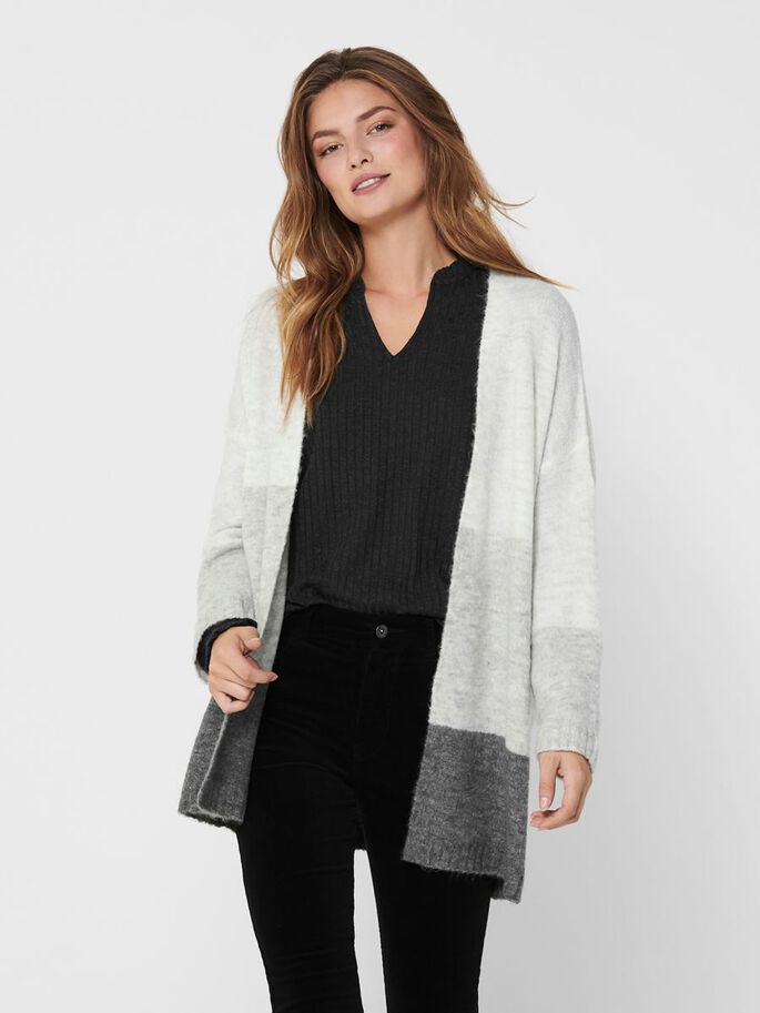 STRIPED KNITTED CARDIGAN, Dark Grey Melange, large