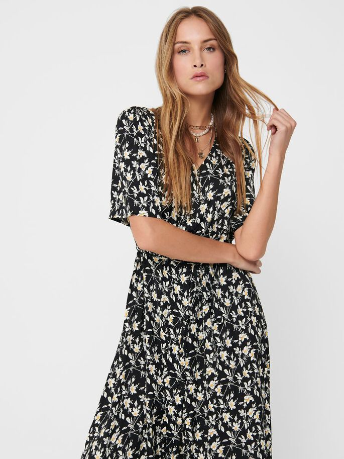 PRINTED SHIRT DRESS, Black, large