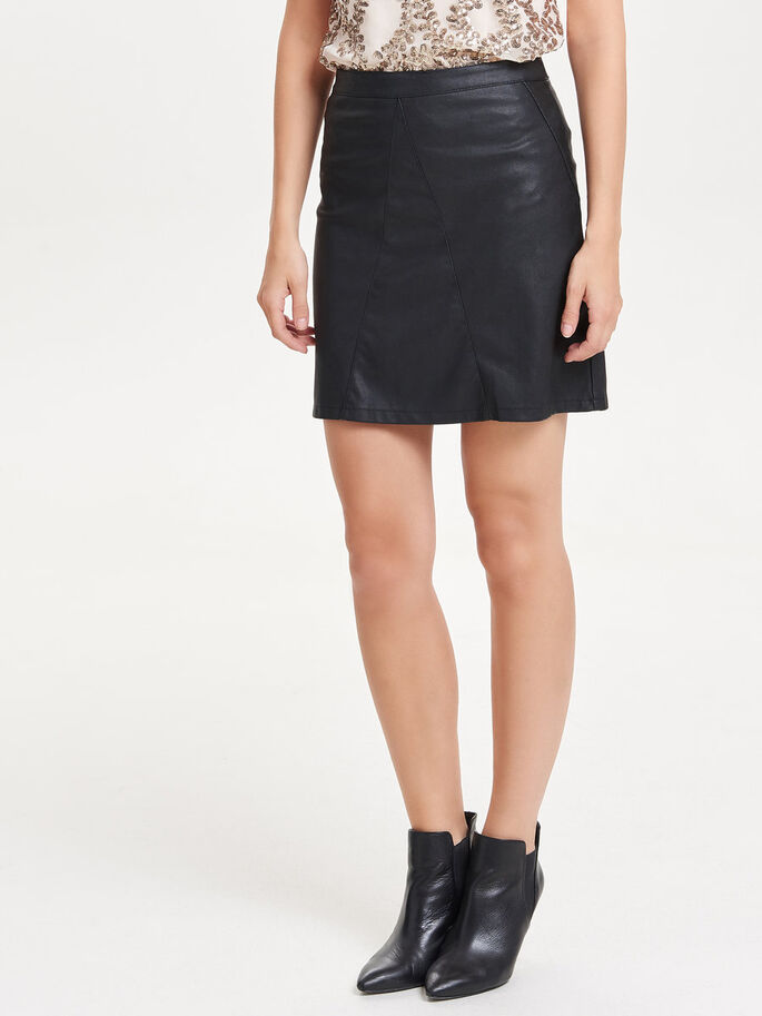 LEATHER LOOK ROK, Black, large