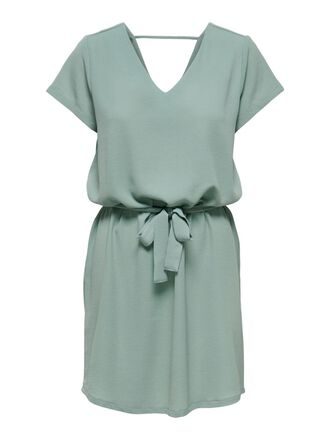 TIE BELT SHORT SLEEVED DRESS