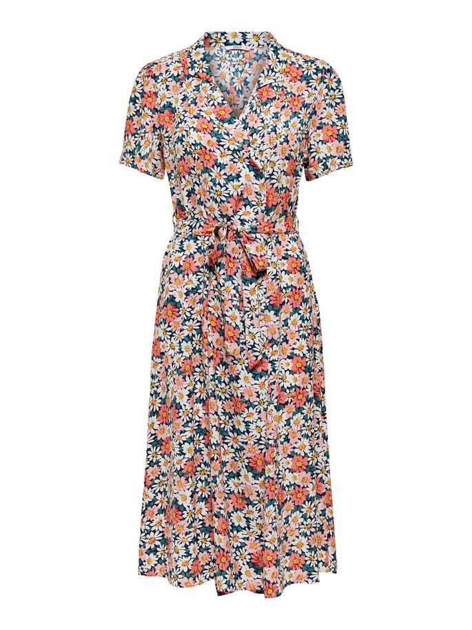 MIDI FLORAL PRINTED SHIRT DRESS, Night Sky, large