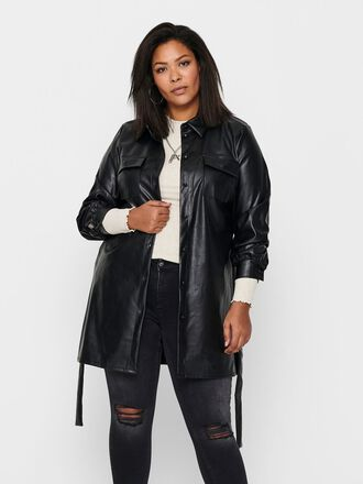 CURVY FAUX LEATHER SHIRT