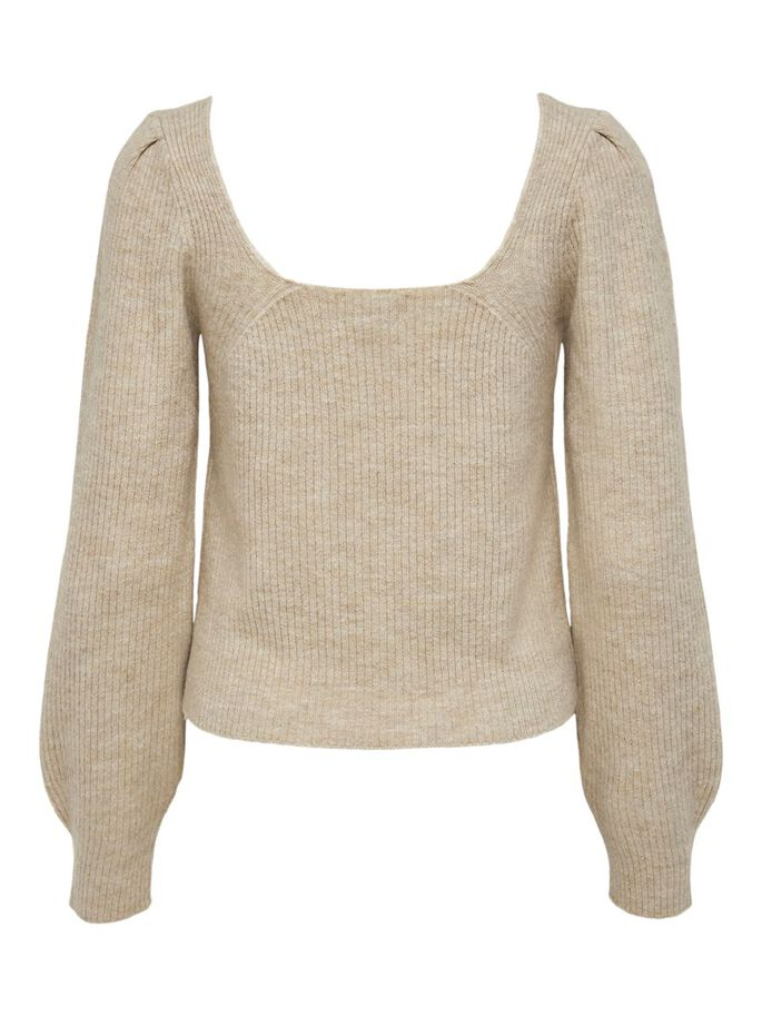 SQUARE KNITTED PULLOVER, Pumice Stone, large
